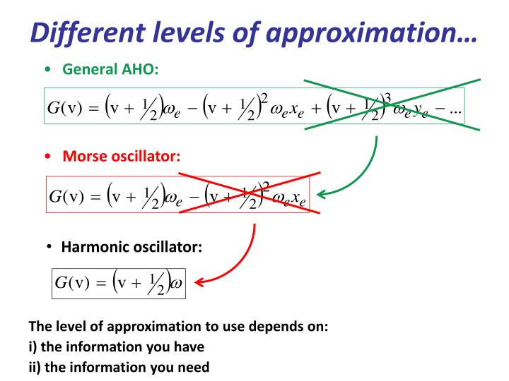 Different levels of approximation…