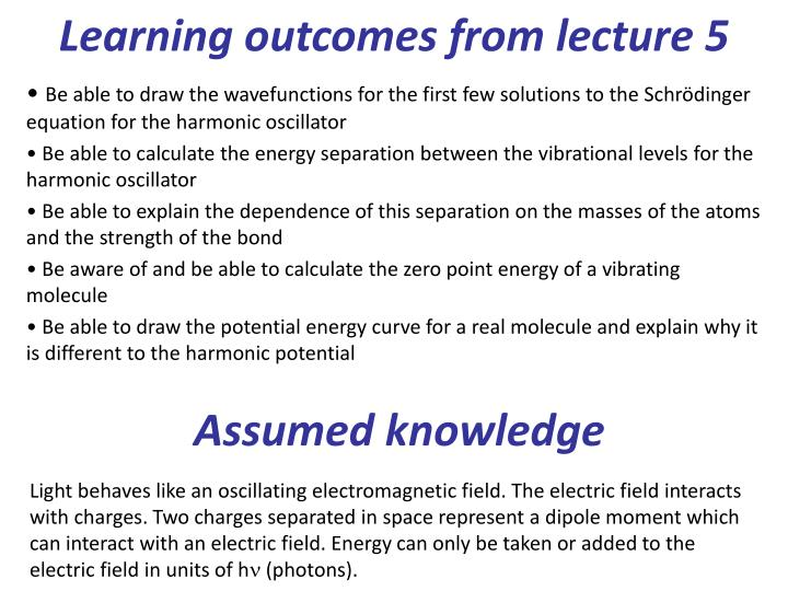 Learning outcomes from lecture 5