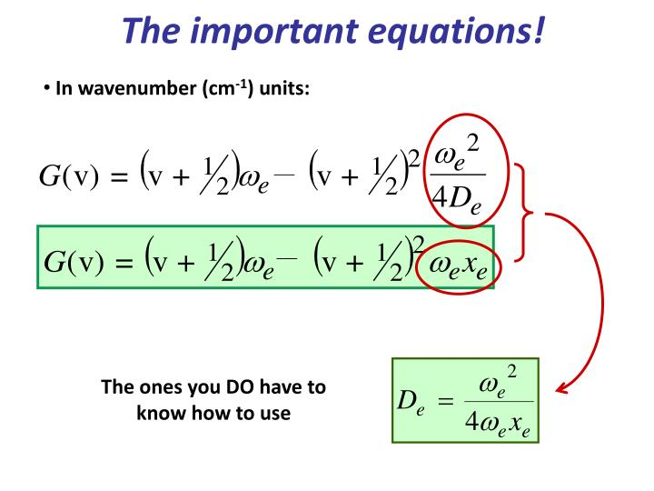The important equations!