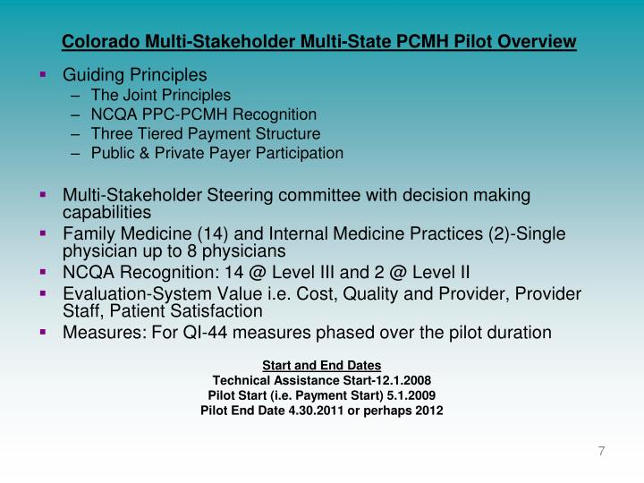 Colorado Multi-Stakeholder Multi-State PCMH Pilot Overview