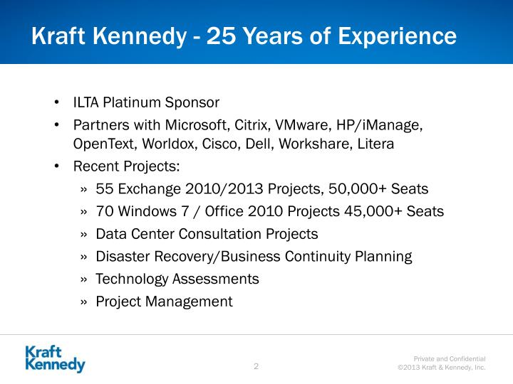 Kraft kennedy 25 years of experience