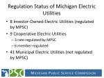 regulation status of michigan electric utilities
