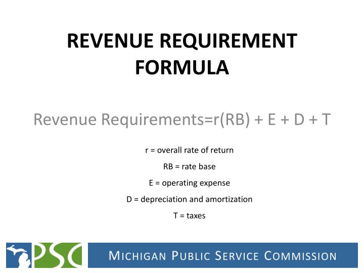 REVENUE REQUIREMENT FORMULA