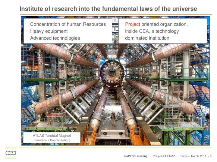 Institute of research into the fundamental laws of the universe