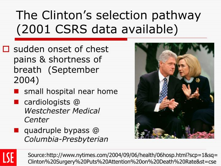 The Clinton's selection pathway (2001 CSRS data available)
