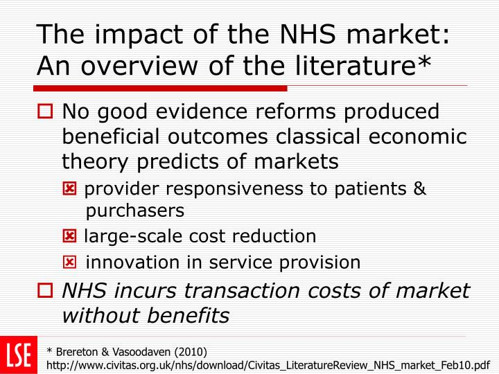 The impact of the NHS market: An overview of the literature*