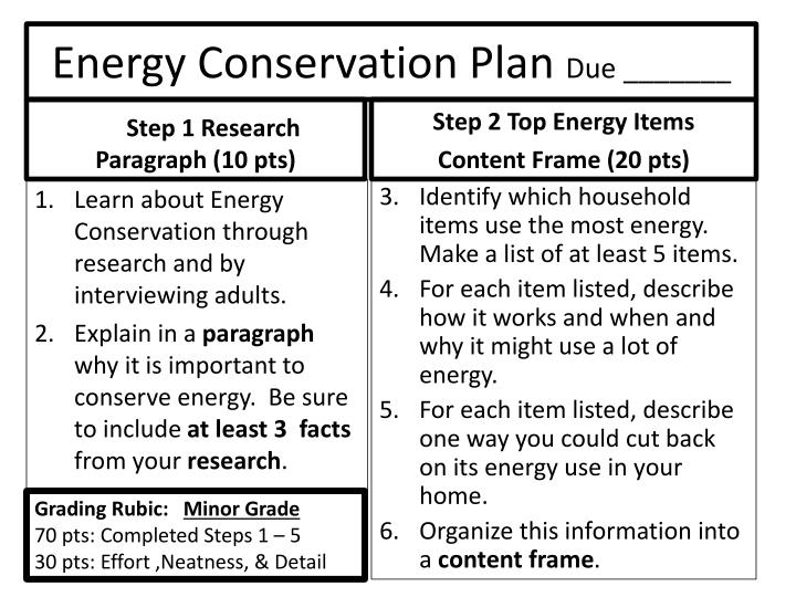 Energy conservation plan due