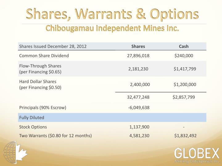 Shares, Warrants & Options