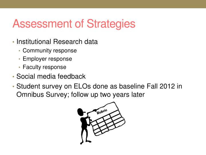 Assessment of Strategies