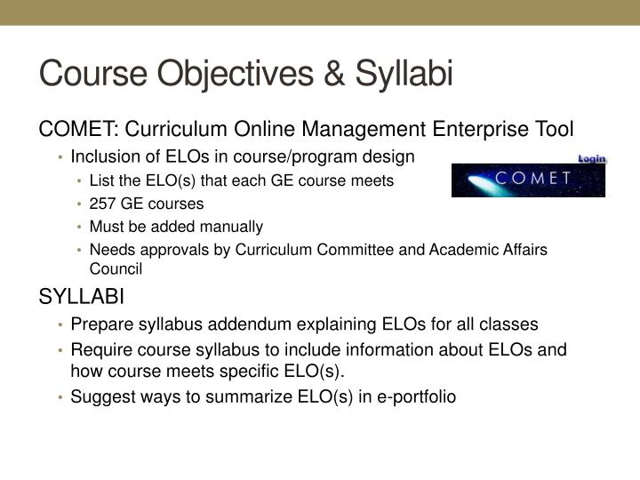 Course Objectives & Syllabi