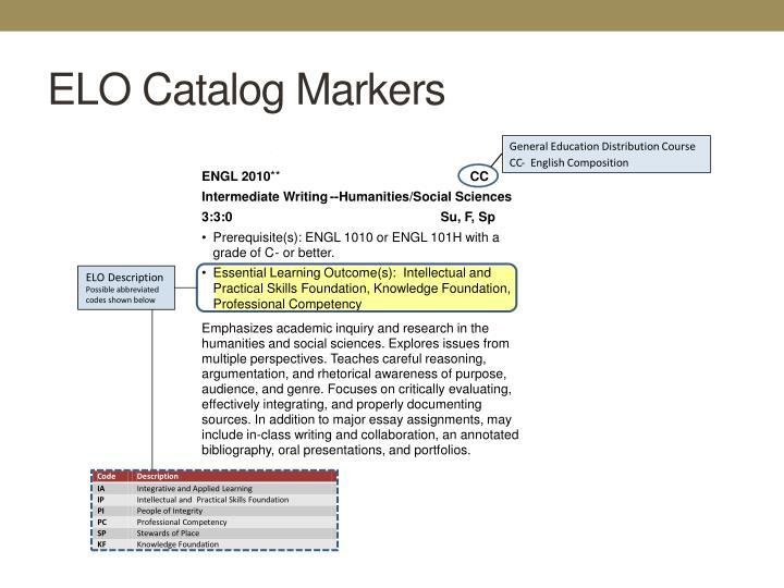 ELO Catalog Markers