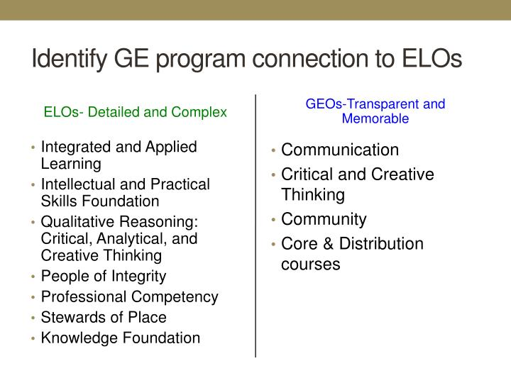 Identify GE program connection to ELOs