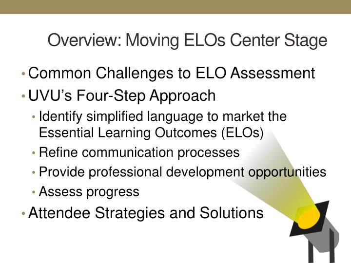 Overview: Moving ELOs Center Stage