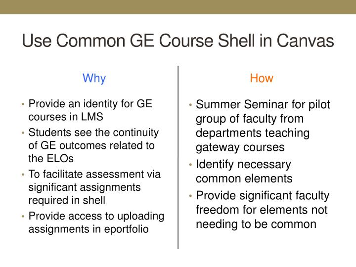 Use Common GE Course Shell in Canvas