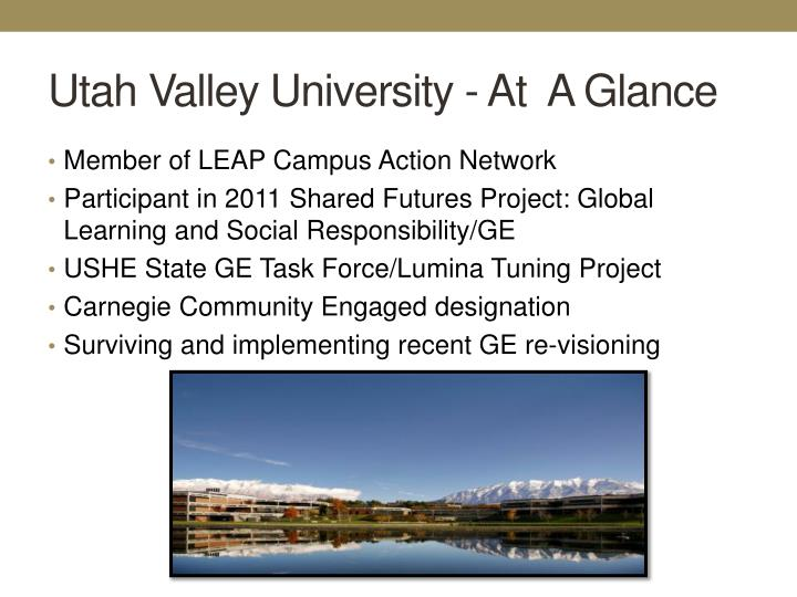 Utah Valley University - At  A Glance
