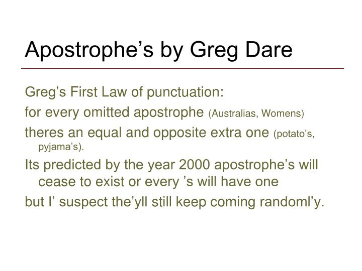 Apostrophe's by Greg Dare