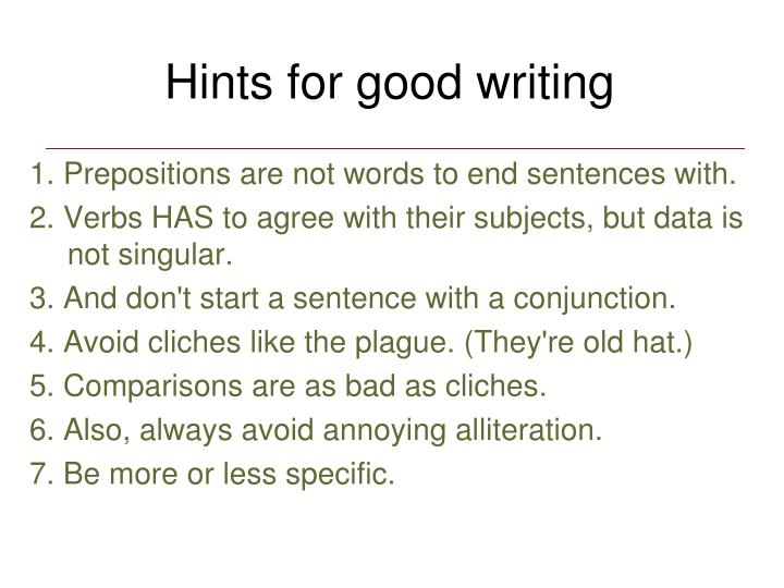 Hints for good writing