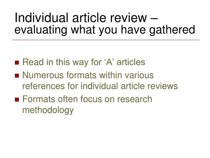 Individual article