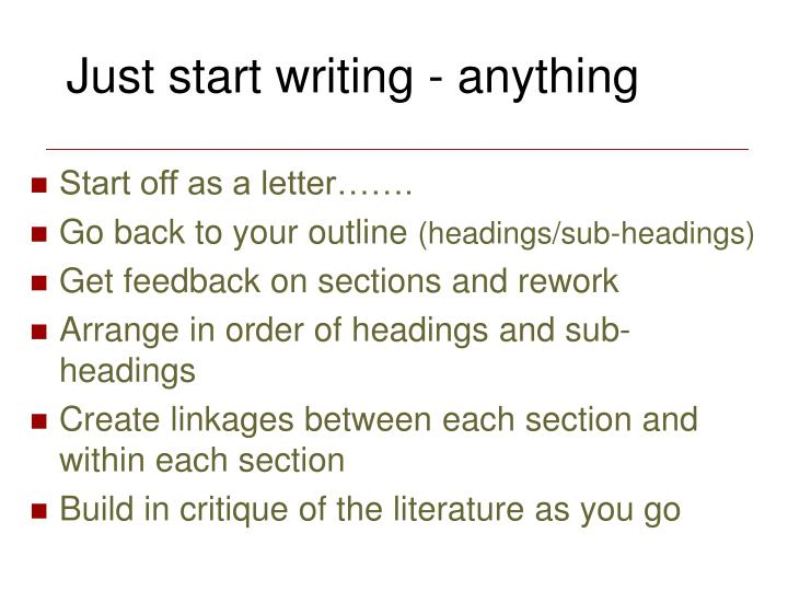 Just start writing - anything