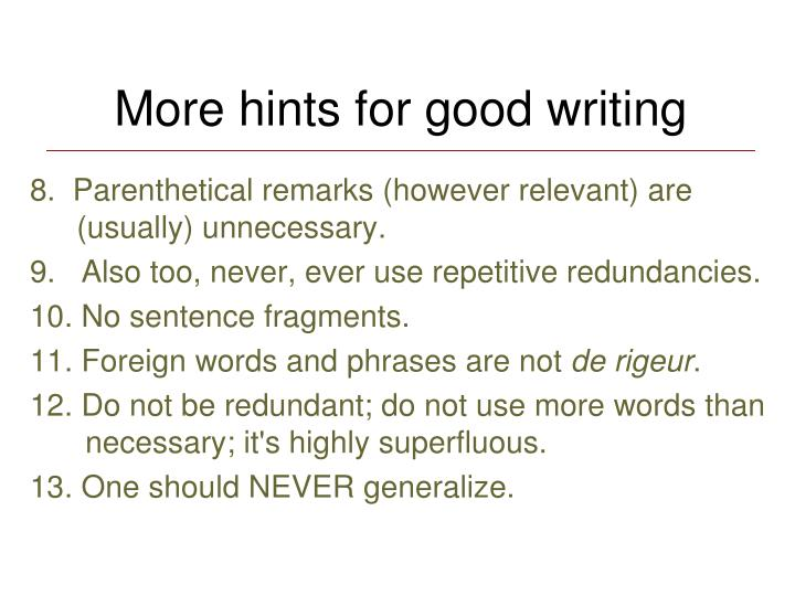 More hints for good writing