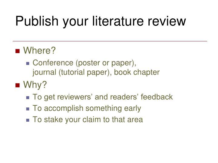 Publish your literature review