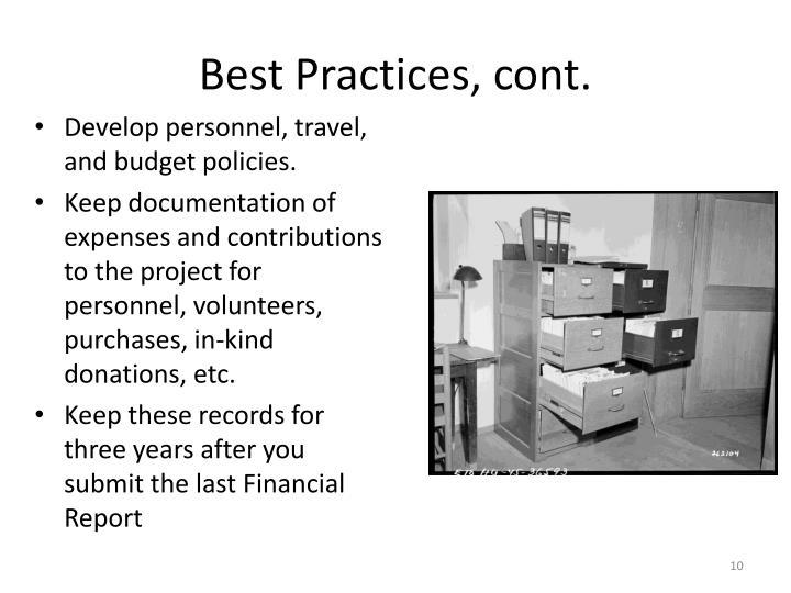 Best Practices, cont.