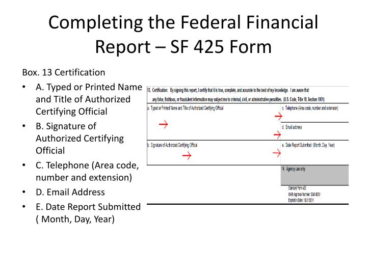 Completing the Federal Financial Report – SF 425 Form