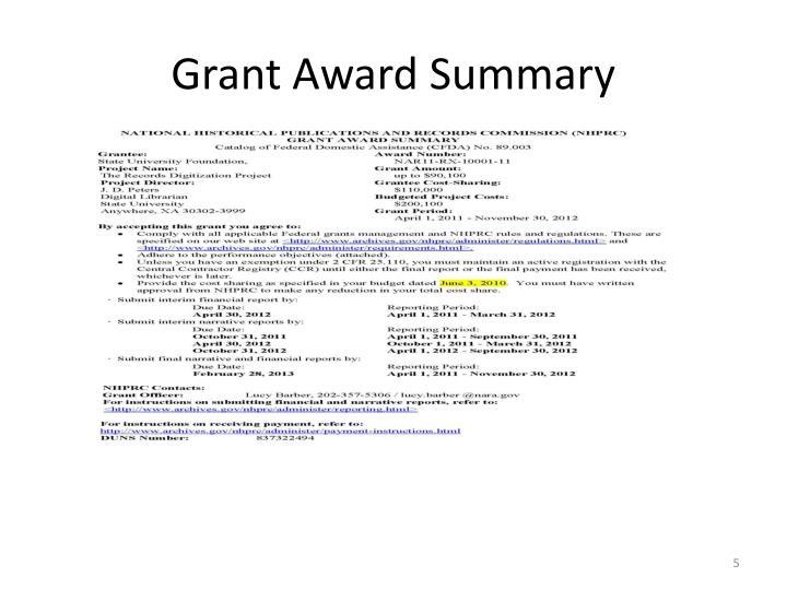 Grant Award Summary