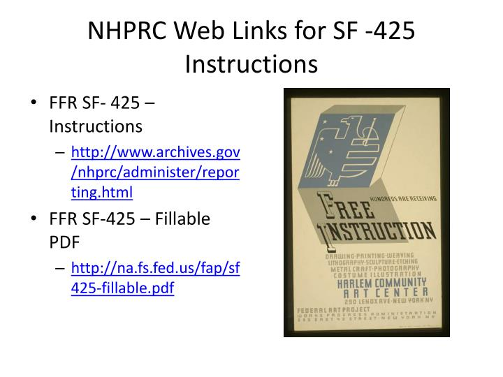 NHPRC Web Links for SF -425 Instructions