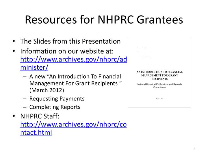 Resources for nhprc grantees
