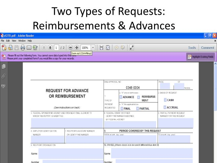 Two Types of Requests:  Reimbursements & Advances