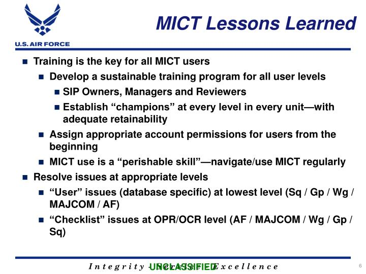 MICT Lessons Learned