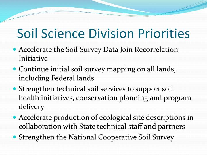 Soil science division priorities