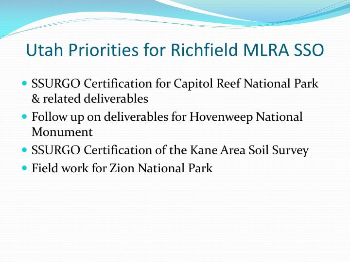 Utah Priorities for Richfield MLRA SSO