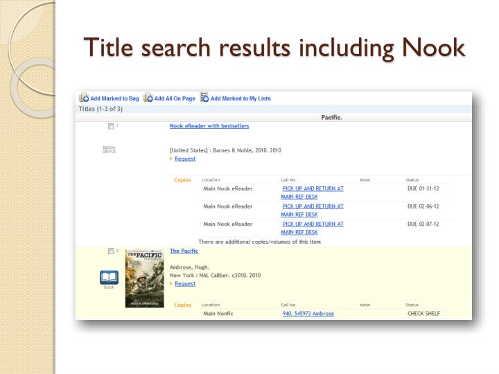 Title search results including Nook