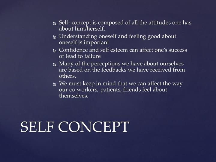 Self- concept is composed of all the attitudes one has about him/herself.