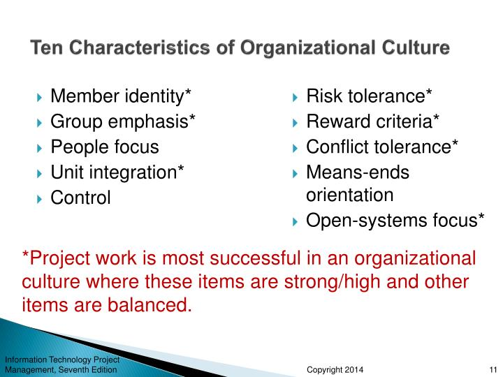 Ten Characteristics of Organizational Culture