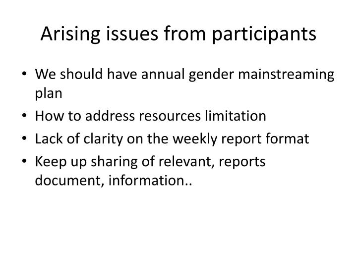 Arising issues from participants