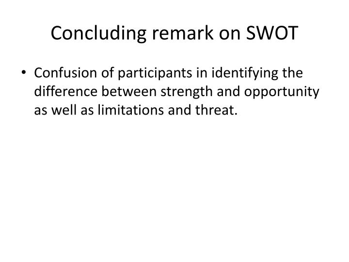 Concluding remark on SWOT