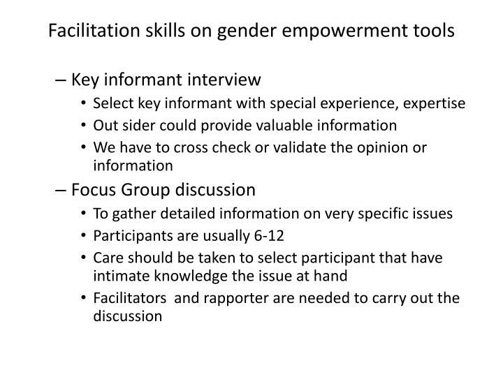Facilitation skills on gender empowerment tools