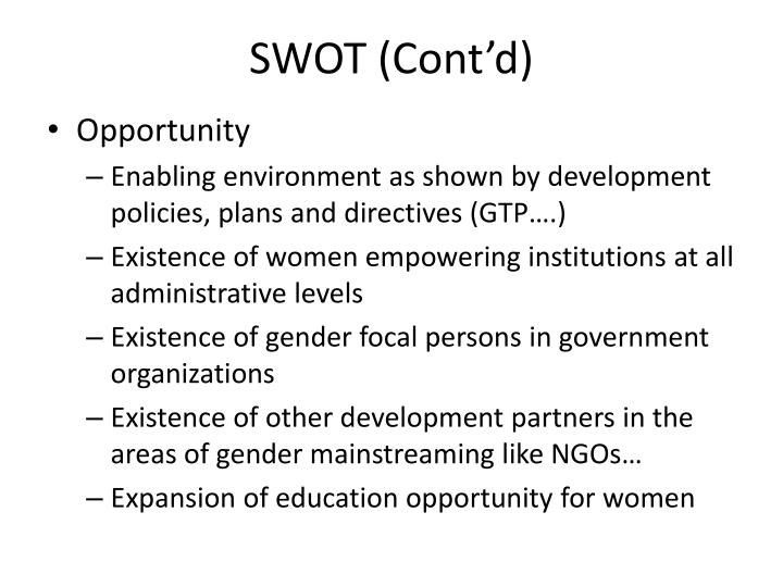 SWOT (Cont'd)
