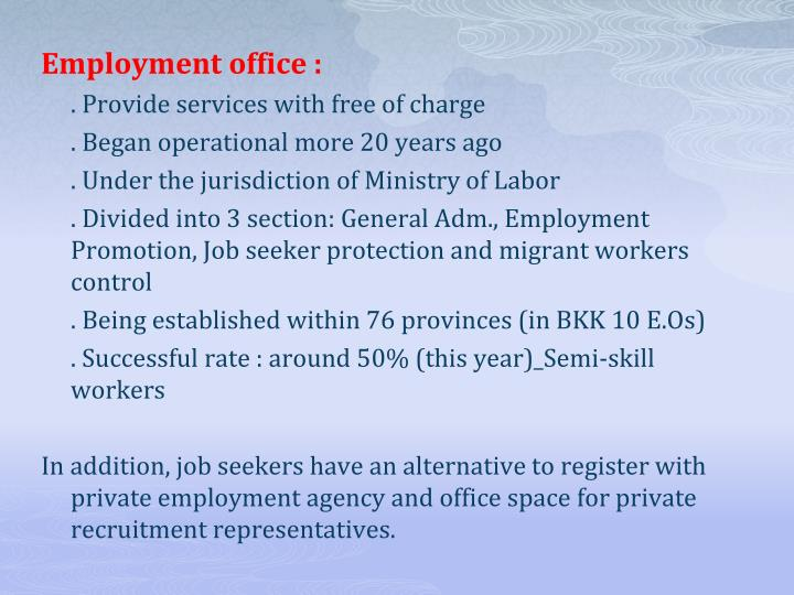 Employment office :