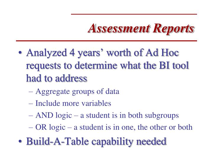 Assessment Reports