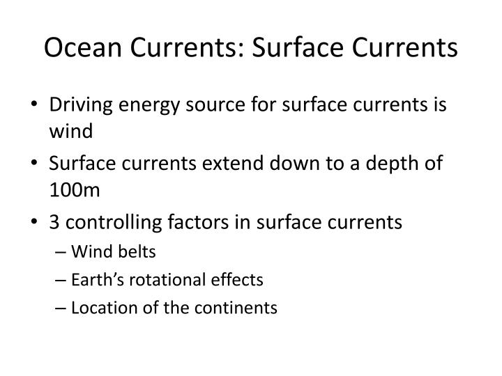 Ocean currents surface currents