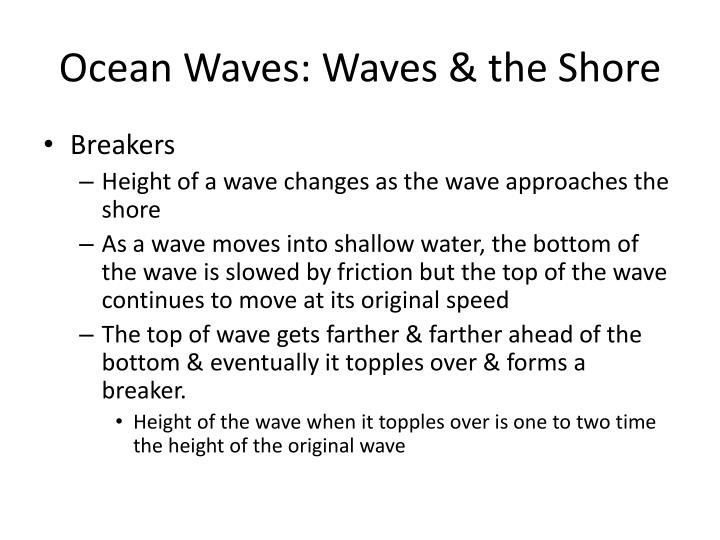 Ocean Waves: Waves & the Shore