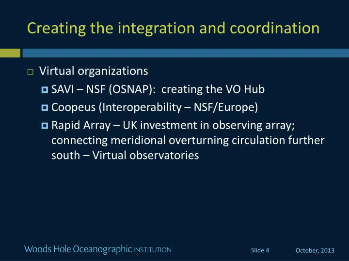 Creating the integration and coordination