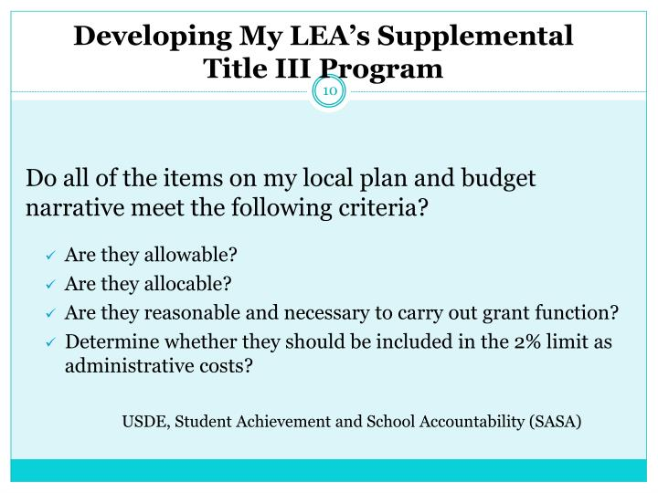 Developing My LEA's Supplemental