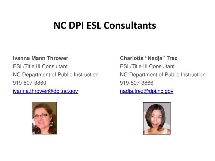 NC DPI ESL Consultants