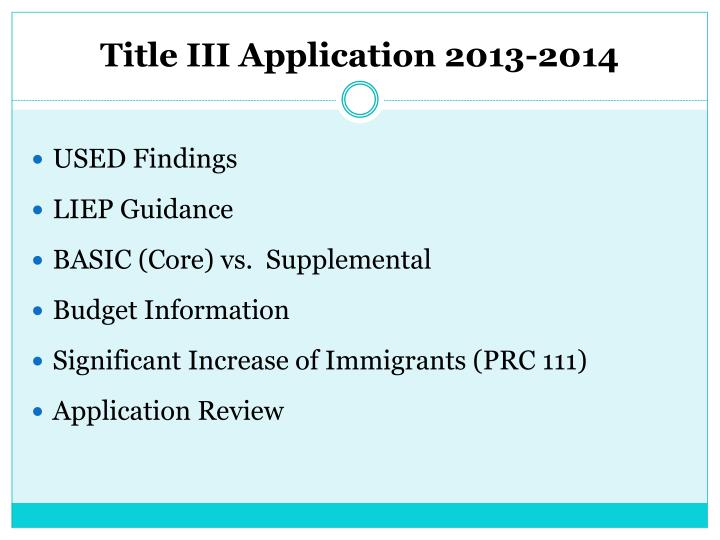 Title iii application 2013 20141