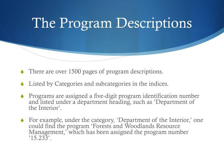 The Program Descriptions